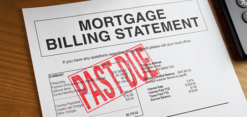 Past Due Rubber Stamped onto a mortgage document