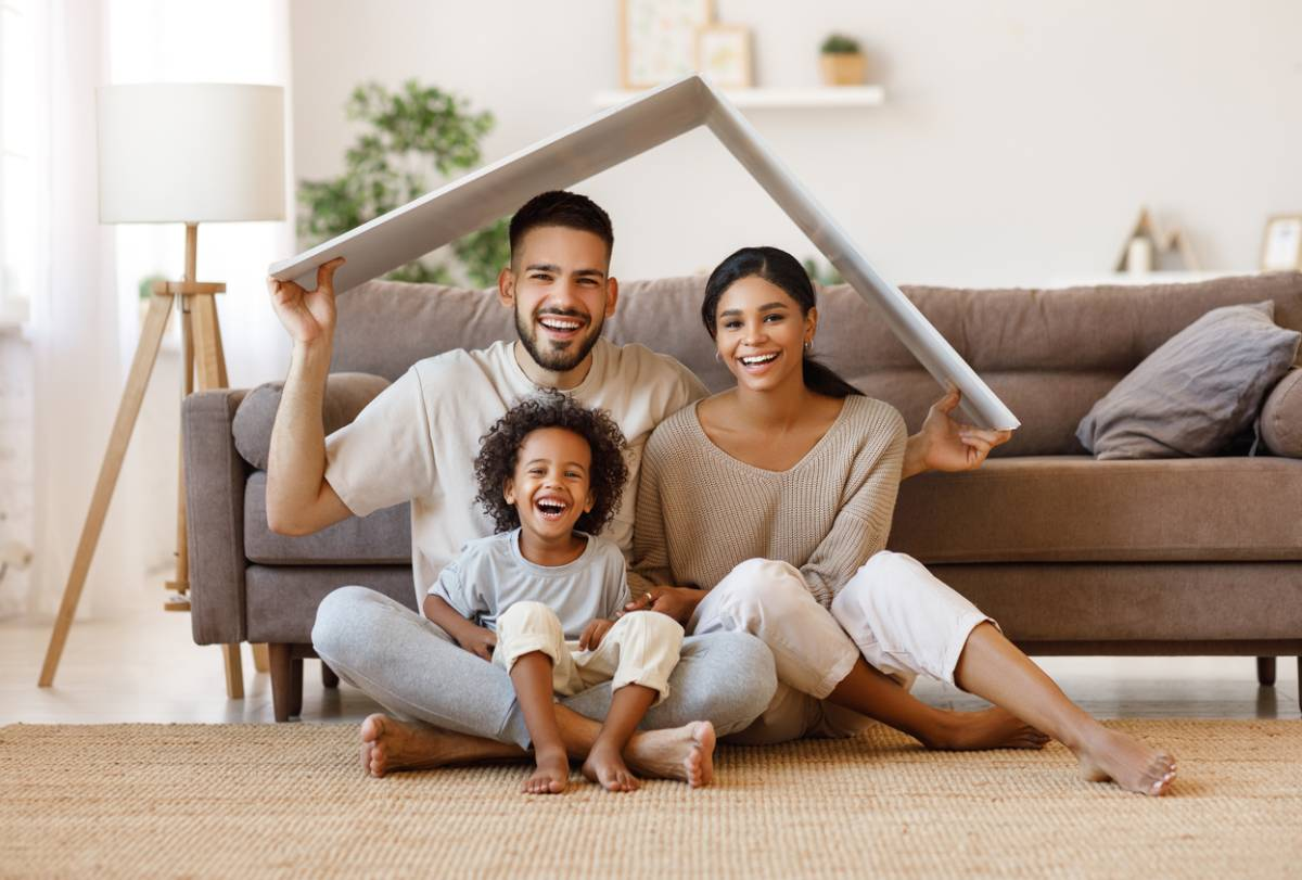 Family that is excited to buy a house.